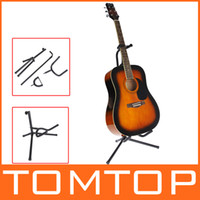 Wholesale Guitar Stand Tubular Acoustic Guitar Stand Folding Tripod Holder Padded Storage Rack I182