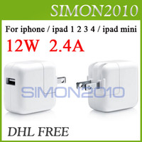 For Apple Power charger For Ipad 12W 2.4A USB 2.0 Home Wall Charger Adapter Charging US AU EU UK Plug For ipad 2 3 mini ipad 4 iPhone 4 4s 5 5g 5th White Color