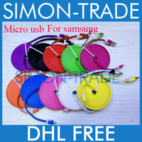 Wholesale Dual Color V8 Flat Micro USB Cable Noodle M FT M FT M FT Charger Cord Universal for Samsung S3 S4 HTC