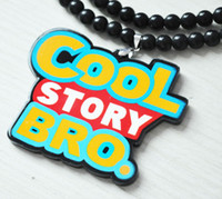 Unisex bead story beads - 5pcs Hip Hop quot Cool Story BRO quot Pendant Acrylic Rosary Bead chains Necklace Good wood Colors