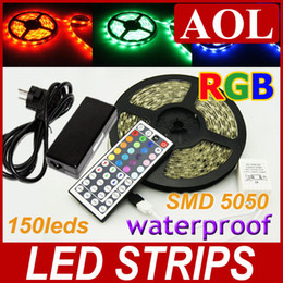 Wholesale Hot Sales M LED SMD5050 RGB Flexible LED Strip Light waterproof border or contour lighting free keys controller V A power