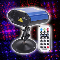 Wholesale 180mW Mini Red amp Blue light Moving Party Stage Laser Light Projector with holder amp remote control la