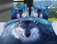 Wholesale personality snow fox wolf blue active printed cotton bedding comforter set pc queen full quilt duvet cover sets bed linen