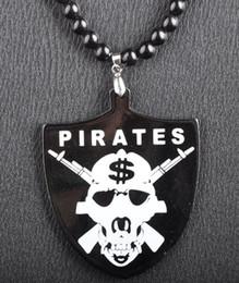 PIRATES $$ Skull Pendant Acrylic Good Wood NYC Hip-Hop Necklace Black Freeshipping