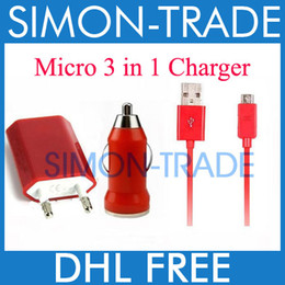 Wholesale Colorful Red in Charger Micro V8 USB Data Cable Mini Car Charger AC EU US Wall Adapter Charger For Samsung S4 S3 HTC Mobile phone