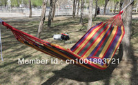 Wholesale Outdoor leisure canvas single Hammock broadened thickening bands outdoor products camp