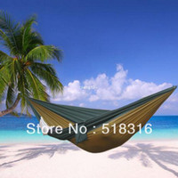 Wholesale Freeshipping pc parachute cloth double hammock tourism camping hammock survival outdoor or indoor