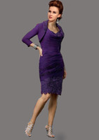 Real Photos Bateau Chiffon SEXY Formal knee Length Purple Mother of the Bride Dress with Jacket Embroidery Sheath Mother Dress