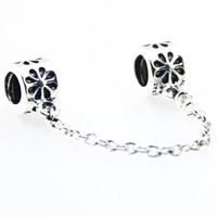 Wholesale New Sterling Silver CM Safty Chain Charm Flowers bead For Snake Chain European Bracelets A055