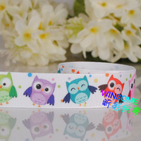 Wholesale 50 yards mm Color owl printed Grosgrain ribbon owl and dots girl ribbon