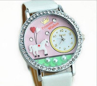 Wholesale Soft ceramic watch diamond surrounding edge White horse design cartoon table cheap