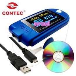 Wholesale CONTEC CMS DPlus Finger Pulse Oximeter SPO2 Oxymeter Free USB Cable Free Software Silicone Rubber Case