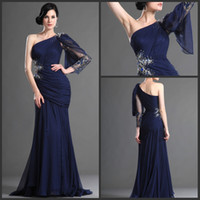 Wholesale Sexy Sheath One Shoulder Lace Long Sleeves Crystal Beaded Ruffle Chiffon evening dresses party gown prom dress