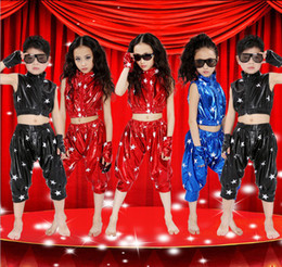 Wholesale Children s stage wear Short paragraph sets of modern hip hop boys and girls jazz dance performance clothing costumes