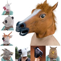 Wholesale Horse Unicorn Deer Animal Head Mask Creepy Halloween Costume Theater Prop Adult