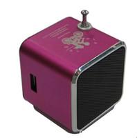 other best price micro sd cards - Best price Mini Digital Speaker TD V26 for mp3 mp4 player Micro SD Card slot U disk slot FM Radio screen Free ship