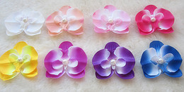 Wholesale 2 quot color Moth orchids Peony Children s Hair Accessories GirlsHead Flower Clip children sheadwear