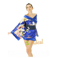 Wholesale Sexy Printed Silk Satin Yukata Japanese Kimono Lingerie sleep costumes Mini Dress Adeal