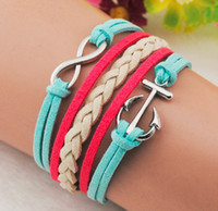 Wholesale INFINITY Arrival anchor leather chain warps bracelet Green Red Leather Bracelet handmade personalized jewelry New