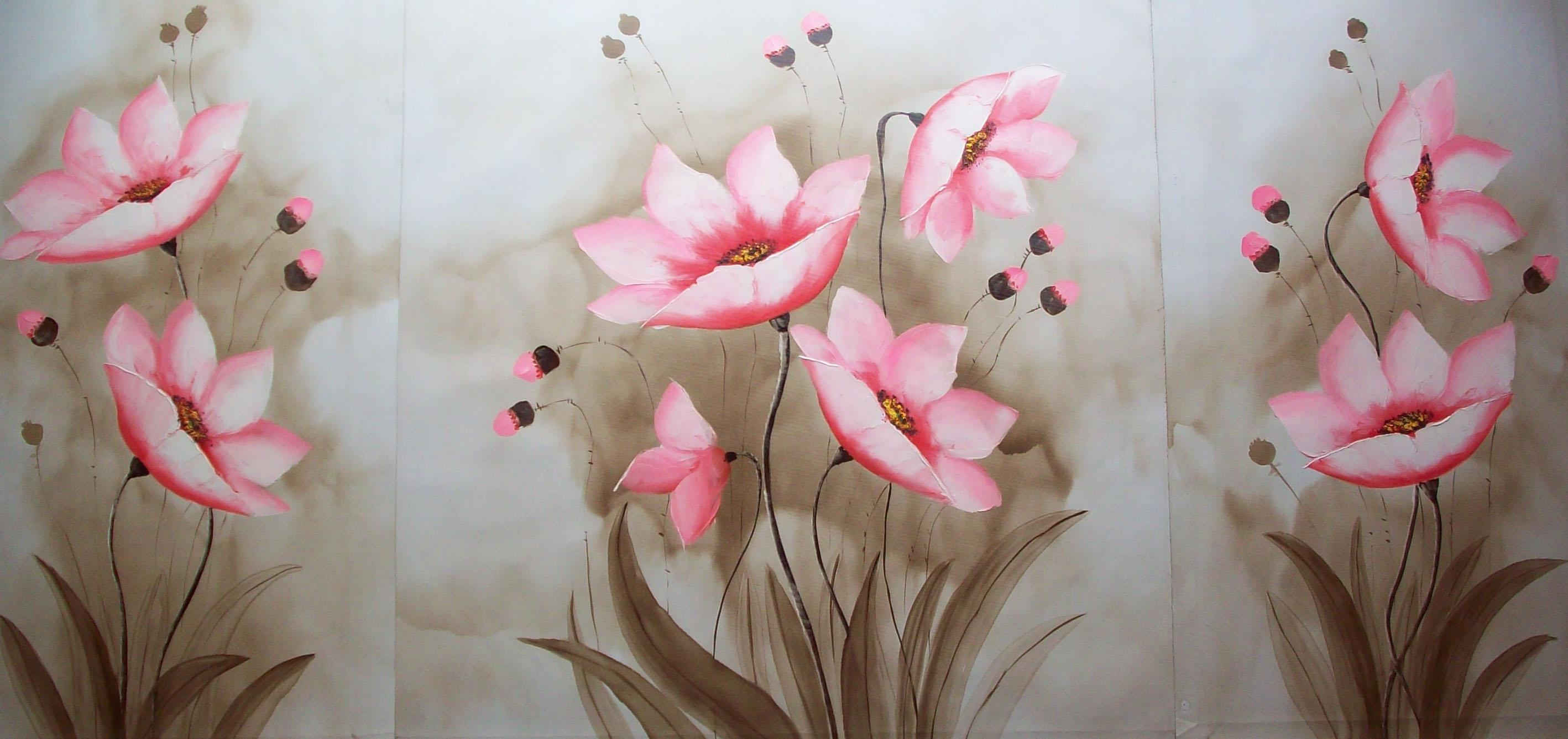 2017 Impression Group Oil Painting Nice Pink Flowers In