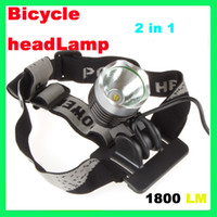 Wholesale 1800 Lumen CREE XML T6 LED Bicycle Bike Headlight Lamp Flashlight Light Headlamp Outdoors Airmail