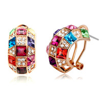 Wholesale New Style Ladies Colorful Austria Crystal Earrings K Gold plated Rhinestone Swarovski element earrings