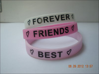 Unisex bff wristbands - 99PCS Printed Colour BFF Wristband Silicon Bracelet Best Friend Forever Colours Adult Size
