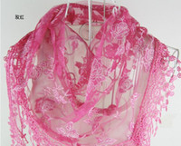 Wholesale new hot Hollow tassel pendant Burning flowers Lace Rose Flower scarves shawls color choose cm