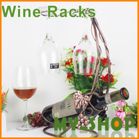 Wholesale ashion Iron art copper surfaced wine holder bottle rack price best gift dropshiping