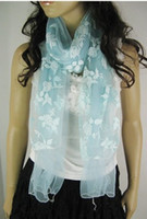 Wholesale WF new hot Chiffon Burning flower lace double printing flocking Scarf scarves multicolor Colors CM