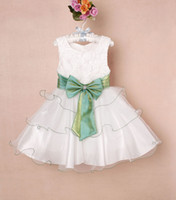 Wholesale NEW Girl Party Dress Kids Pleated Big Bow Dresses Baby Cake Skirt