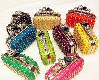 Wholesale Cool Punk Sytle Womens Satchel Skull Knuckle Evening Clutch Shoulder Bags Cross body Bag Rivet Ring Diamond Purse Pu Pink Yellow Green White