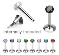 Wholesale Body Jewelry Internal Threaded CZ Prong Set Monroe Lip Ring Labret Piercing Mixed colors