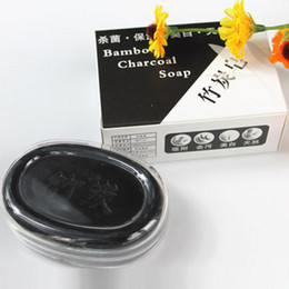 Wholesale Natural bamboo charcoal soap charcoal whitening wash mites cleansing soap