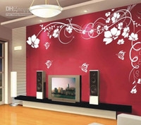Wholesale Home fashion decoration Beautiful Flower Vinyl Wall Paper Decal Art Sticker Living room bedroom sofa TV background wallpaper paste