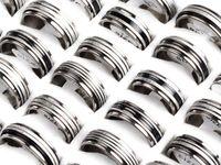 Anneaux inox motif noir anneau 17-21mm 36pcs Mens acier inoxydable anneau bijoux beaucoup de pointe [SR155 * 36]