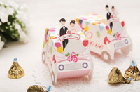 Favor Boxes Red Paper 100pcs lot Wedding favor holders gift party birthday boxes car bridal groom sweet candy Box wc120