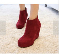 Wholesale Women Ladies Boots Suede Shoes High Heel Platform Wedge Zip Ankle Booties
