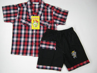 Wholesale NEW Arrivals Very cheap Boy s Sets short sleeves grid Shirt pants cotton Four colors for Children summer suit set