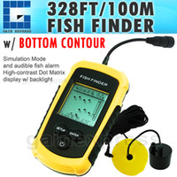 Wholesale FF Portable Sonar LCD Fish Finder Fishfinder Alarm M Beam Transducer AP Ice Fishing M Cable Detects Weeds Grass Rock