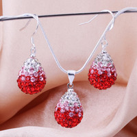 Wholesale HOT Dazzling AB Crystal Pave Disco drop Lovely Necklace Earrings Sets Bling Shamballa Jewelry set ZSSS shining Rhinestone DIY jewelry