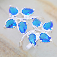 Wholesale wholeasle silver jewelry blue topaz gemstone ring stone LR0584