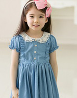 Wholesale Gymboree Denim Lace Lapel Ruffled Puff Sleeve Fabulous Dress Girls Jean Trim Dresses