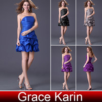 Wholesale Fast Delivery Grace Karin pc Western Girl Short Bridesmaid Dress Gray Black Royal Blue Purple CL4098