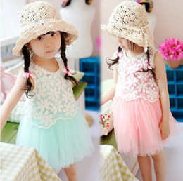 Wholesale 2013 summer children dress Girls strap tutu gauze dress hollow flowers Vest girls suits