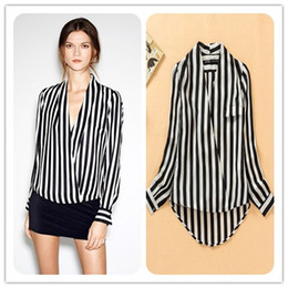Wholesale Sexy V neck stripe blouses long sleeve leisure Spring Fall tops ladies zebra work blouse