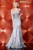Wholesale 2013 Spaghetti Straps Mermaid Silver Tulle Evening Dresses Sheer Applique Beaded Prom Gown
