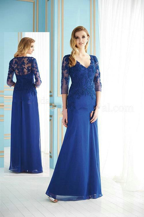 Cobalt Lace V Neck Mother Of The Bride Dress 2013 Chiffon 3/4 Long ...