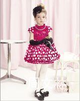 Wholesale Child Round Skirt - Summer kids dress Korean big round dot Short sleeve High collar children princess dresses girls skirt 2 colour 5 size 5 pcs lot