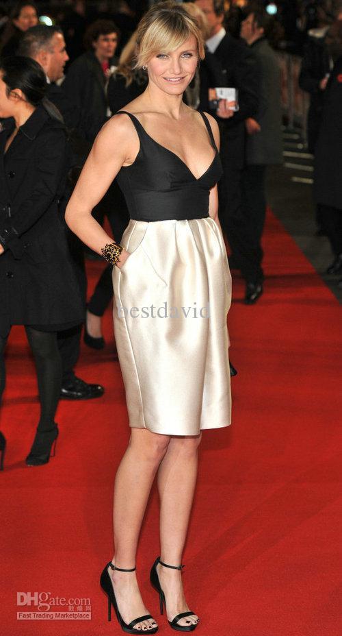 Cameron Diaz Black White Evening Dress 2013 Short V-Neck ...